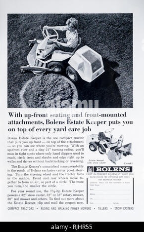 A 1966 magazine advertisement for the Bolens Estate Keeper sit on lawnmower. - Stock Image