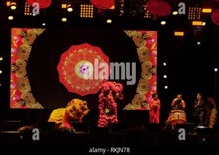 London, UK, 10 February, 2019. Lion dance on stage during Chinese New year celebration at Trafalgar Square in London, UK. Credit: Harishkumar Shah/Alamy Live News - Stock Image