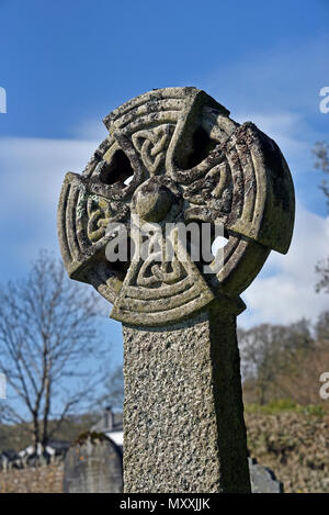 Detail of gravestone with Celtic crosshead design. Church of Saint Bartholomew, Loweswater, Lake District National Park, Cumbria, England, United King - Stock Image