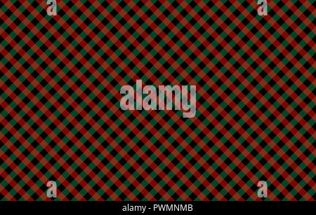 Diagonal Gingham-like pattern with red and green checks. Seamless design of symmetrical overlapping stripes in a two colors against solid background - Stock Image