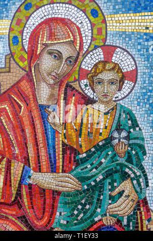 Miami Florida Ukrainian Catholic Church mosaic Virgin Mary Christ mother and child religion faith icon Christianity - Stock Image