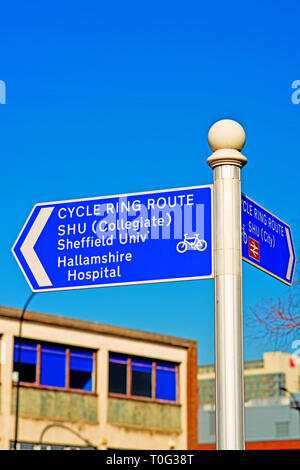 Sheffield, Cycle Ring Route Information Sign, England - Stock Image