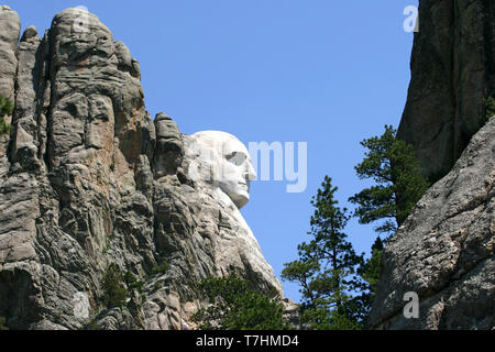 The profile of the first president of the United States, President George Washington, carved into the stone of the Black Hills of South Dakota a by Gu - Stock Image