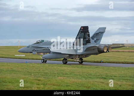 Swiss Air Force F/A 18C Hornets deployed to RAF Lossiemouth, Scotland for four weeks in November 2017. - Stock Image