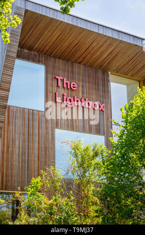 The Lightbox in Woking town centre, a gallery, museum and exhibition space civic amenity modern building on the banks of the Basingstoke Canal - Stock Image
