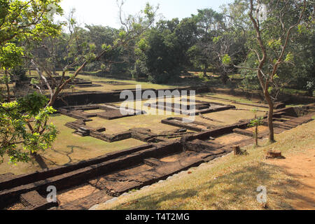 the royal gardens at sigiriya rock a unesco world heritage site in the cultural triangle of sri lanka - Stock Image