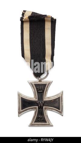 World War One German Iron Cross Isolated on White. - Stock Image