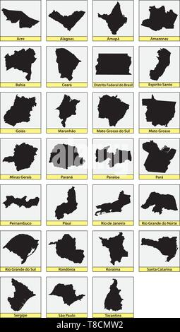 twenty seven black maps of the Subdivisions of Brazil - Stock Image