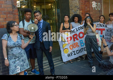London, UK. 3rd July 2018. Two students from a local Academy talk about their social media campaign against the plans and gentrification of Southwark at the protest outside Southwark Council Offices calling on the Council Planning Committee to reject the plans by tax avoiding property giant Delancey and University of the Arts London to demolish the Elephant & Castle Shopping Centre  and replace it with luxury housing and a new building for the London College of Communication. Credit: Peter Marshall/Alamy Live News - Stock Image