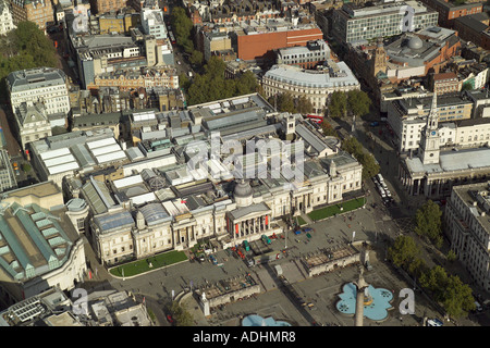 Aerial view of the National Gallery which is on the northern side of Trafalgar Square in London - Stock Image