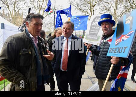 London, UK. 27th Mar, 2019. Arron Banks, Co Founder of Leave EU Campaign, Andy Wigmore, Steve Bray, SODEM, Houses of Parliament, Westminster, London. UK Credit: michael melia/Alamy Live News - Stock Image
