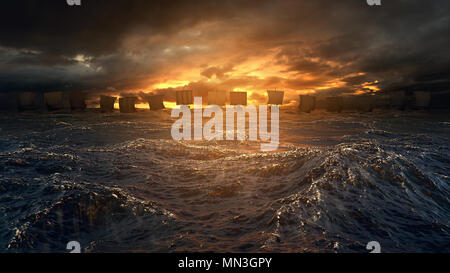 Vikings ships on the horizon of stormy ocean. Mysterious atmosphere under the shining sky. - Stock Image