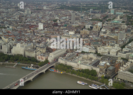Aerial view of Somerset House and Covent Garden in London with Waterloo Bridge over the River Thames in the foreground - Stock Image