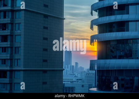 sunset, bangkok skyscrapers - Stock Image
