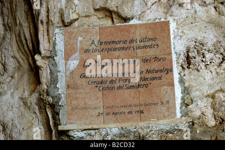 Commemorative Plaque Dedicated to Miguel Alvarez Toro, Creator of the Sumidero Canyon National Park, Chiapas State, - Stock Image