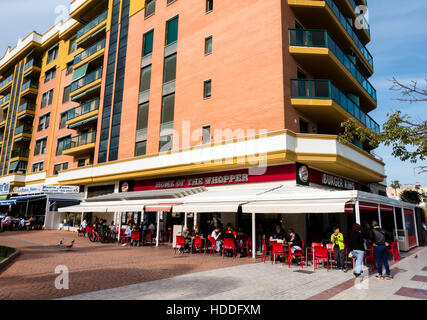 Burger King fast food restaurant in Torremolinos, Costa del Sol, Andalucia, Spain - Stock Image