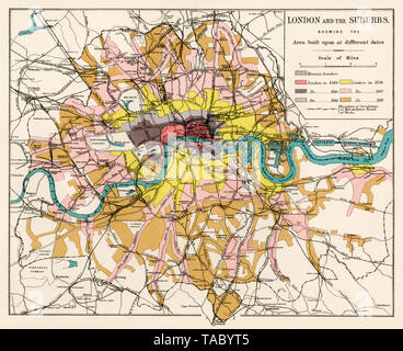 Map of greater London showing areas built at different dates. Color lithograph - Stock Image