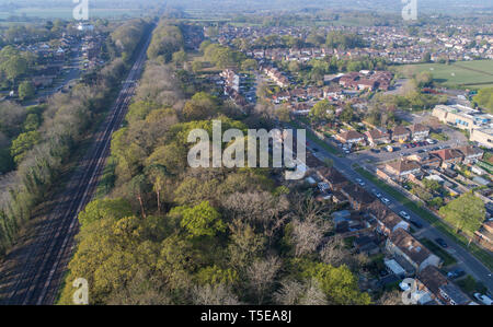 aerial views of burgess hill west sussex taken by drone - Stock Image