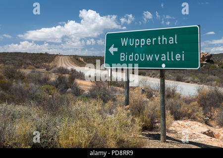 Sign for Wupperthal and the Biedouw Valley in the Cederberg Mountains of South Africa. - Stock Image