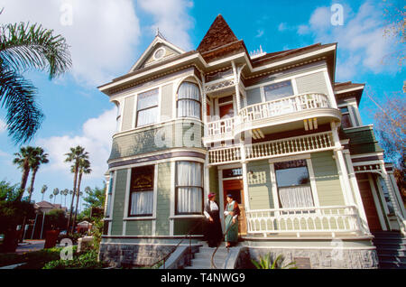 California Ventura County Oxnard Heritage Square Justin Petit Ranch House one of many relocated Victorian style buildings - Stock Image