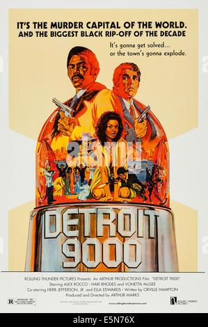 DETROIT 9000, U.S. poster art, top: Hari Rhodes, Alex Rocco; center: Vonetta McGee, 1973 - Stock Image