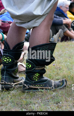 Mongolian wrestling competition near the Khovsgol Lake, Mongolia. The boots of a wrestler. - Stock Image