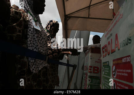 Hajj pilgrims at Ebola screening point,Hajj Camp, Lagos Airport, - Stock Image