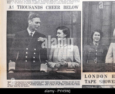 British newspaper article King George VI & Princess  Margaret greet crowd at the end of the war on day after VE Day  9 May 1945 London England UK - Stock Image