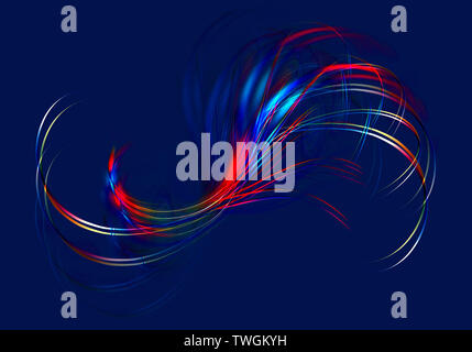 Abstract bright iridescent twisted wavy lines intersect in the shape of a fan on a dark blue background - Stock Image