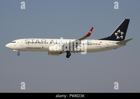 Turkish Airlines Boeing 737-800 in Star Alliance livery with registration TC-JFH on short final for runway 14 of Zurich Airport. - Stock Image