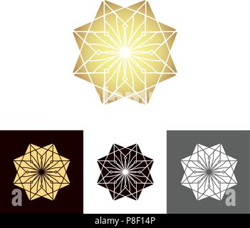 A set of ancient geometric linear figures, for decorating your own design. The vector illustration - Stock Image