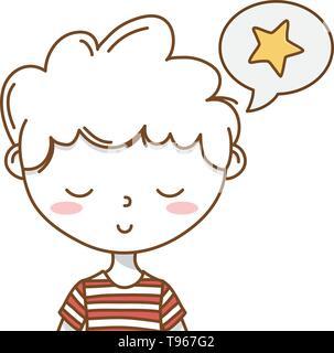 Stylish boy blushing cartoon outfit stripped tshirt speech bubble star portrait  vector illustration graphic design - Stock Image