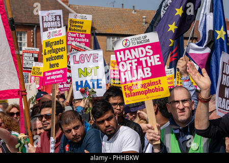 Worcester, United Kingdom. 1 September 2018. The English Defence League (EDL) held a national demonstration in the West Midlands town of Worcester, approximately 200 people attended. A counter-protest was held a short distance away with approximately 500 people. PICTURED: Counter-protesters in Worcester town centre Credit: Peter Manning/Alamy Live News - Stock Image