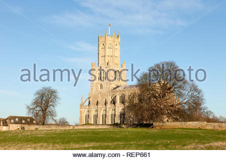 St Mary and All Saints Church in the village of Fotheringhay, Northamptonshire, England, UK - Stock Image