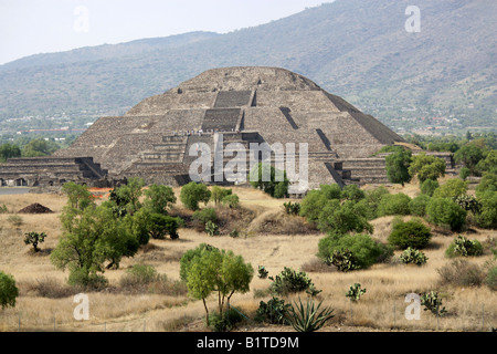 The Pyramid of the Moon from the Pyramid of the Sun, Teotihuacan, Mexico - Stock Image