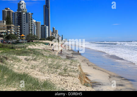 Beach erosion after storm activity Gold Coast Australia, pristine sandy beaches left with dangerous scarping and - Stock Image