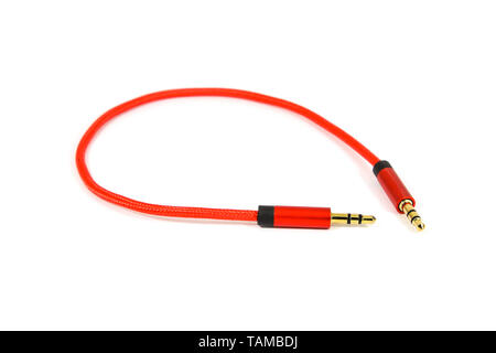 Aux cable isolate on white - Stock Image