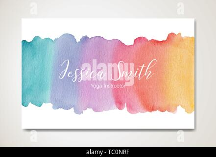 Watercolor business card template, EPS10 vector - Stock Image