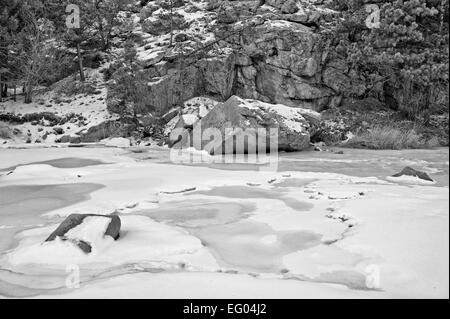 Winter Mountain River Landscape - Stock Image