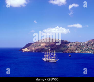 The Royal Clipper sails into Kingstown Bay. Kingstown, Saint George, St Vincent and the Grenadines. - Stock Image