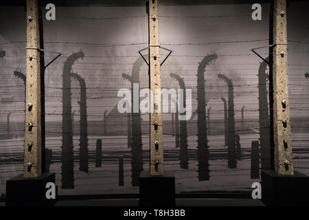 Between 1940 and 1945, electrified fences made of concrete and barbed wire surrounded Auschwitz, making it almost impossible for prisoners to flee. - Stock Image