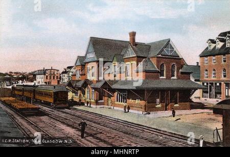 The Intercolonial Railway of Canada (ICR) Station at New Glasgow, Nova Scotia, Canada     Date: circa 1910s - Stock Image