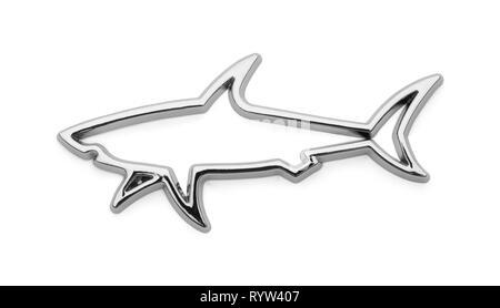 Chrome Shark Car Badge Isolated on White. - Stock Image