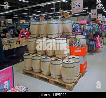 Kokkedal, Denmark, 18th February, 2017. The supermarkets are full of Shrovetide barrels for the upcoming Shrovetide - Stock Image