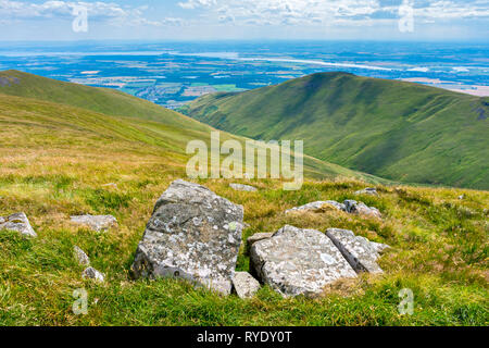 The river Forth over Wood Hill, from Ben Cleuch in the Ochil Hills, Clackmannanshire, Scotland, UK - Stock Image