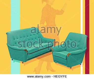 Gone shopping mid century retro vintage furniture sofa lifestyle atomic fifties housewife style - Stock Image