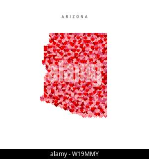 I Love Arizona. Red and Pink Hearts Pattern Vector Map of Arizona Isolated on White Background. - Stock Image