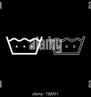 Wash in hot water Clothes care symbols Washing concept Laundry sign icon outline set white color vector illustration flat style simple image - Stock Image