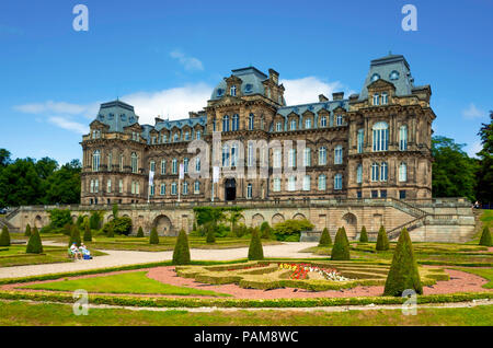 The front aspect of the Bowes Museum and formal garden Barnard Castle Co Durham England UK in Summer - Stock Image