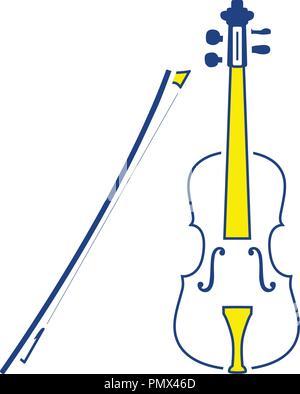 Violin icon. Thin line design. Vector illustration. - Stock Image